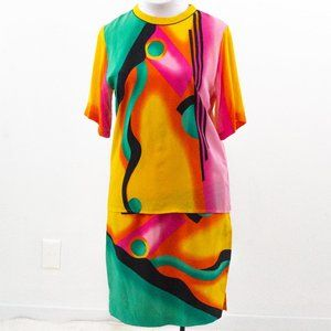 Vintage 80s M/L Silk 2-Piece Skirt Suit Set Neon